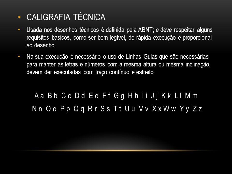 CALIGRAFIA TÉCNICA Usada nos desenhos técnicos é definida pela ABNT; e deve respeitar alguns requisitos básicos, como ser bem legível, de rápida execu