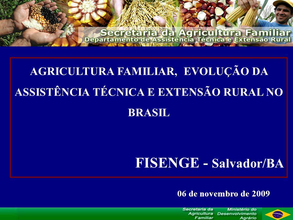 AGRICULTURA FAMILIAR, EVOLUÇÃO DA ASSISTÊNCIA TÉCNICA E EXTENSÃO RURAL NO BRASIL FISENGE - Salvador/BA 06 de novembro de 2009
