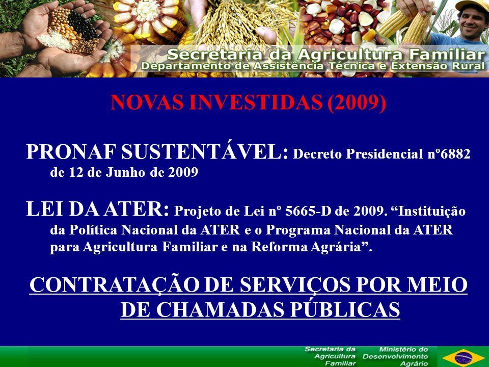 NOVAS INVESTIDAS (2009) PRONAF SUSTENTÁVEL: Decreto Presidencial nº6882 de 12 de Junho de 2009 LEI DA ATER: Projeto de Lei nº 5665-D de 2009.