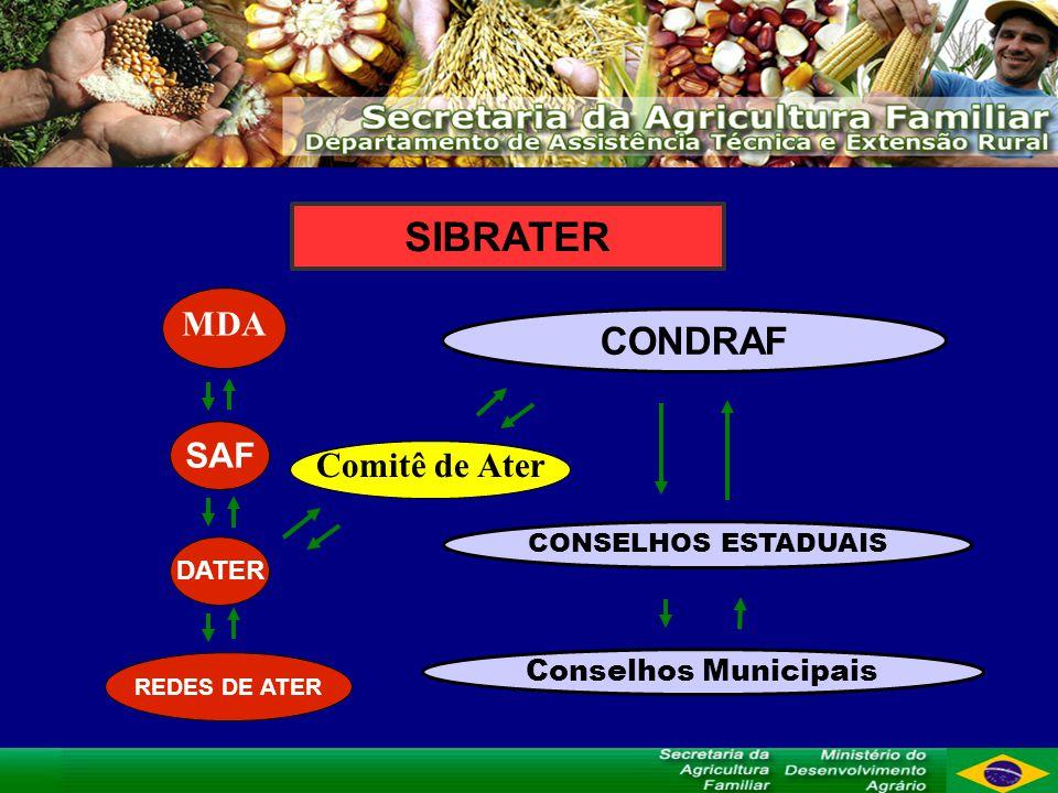 CONDRAF Comitê de Ater MDA SAF DATER CONSELHOS ESTADUAIS Conselhos Municipais REDES DE ATER SIBRATER