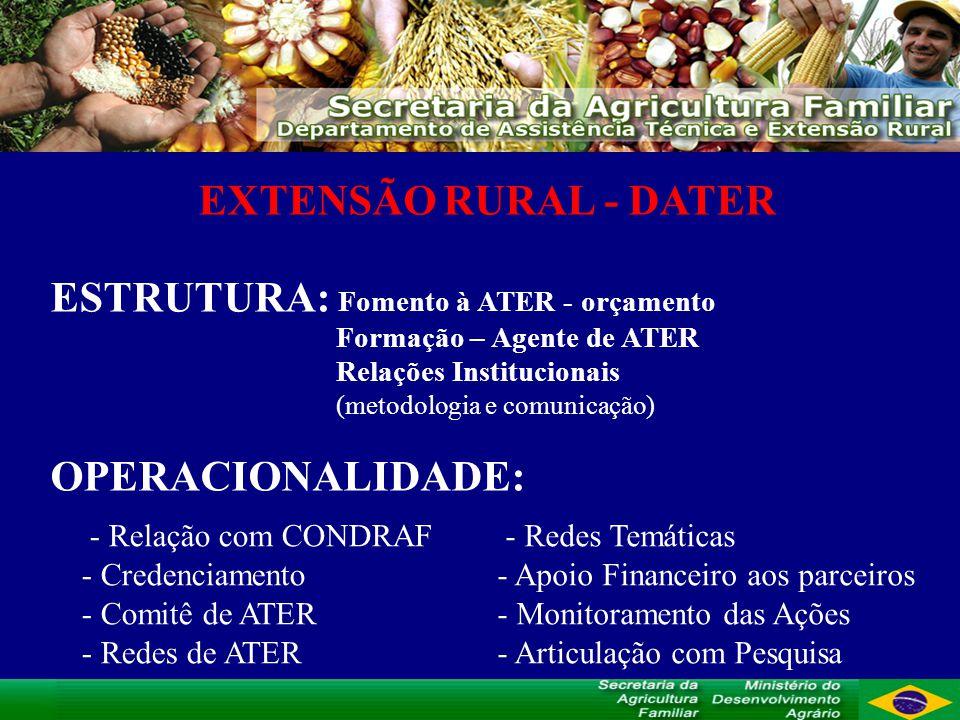 EXTENSÃO RURAL - DATER ESTRUTURA: Fomento à ATER - orçamento Formação – Agente de ATER Relações Institucionais (metodologia e comunicação) OPERACIONAL
