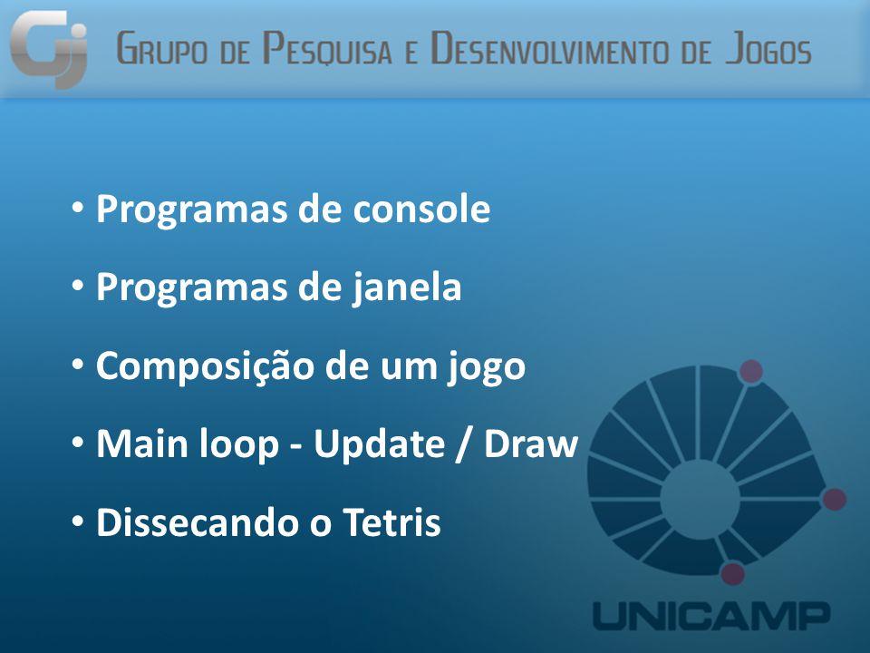 Programas de console Programas de janela Composição de um jogo Main loop - Update / Draw Dissecando o Tetris