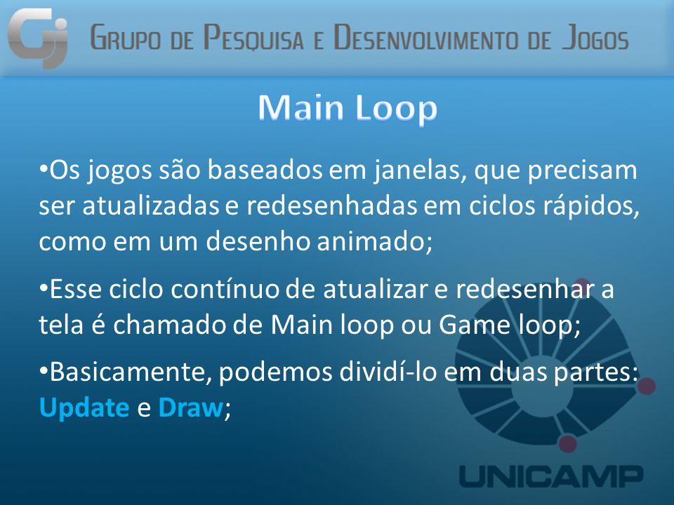 Os jogos são baseados em janelas, que precisam ser atualizadas e redesenhadas em ciclos rápidos, como em um desenho animado; Esse ciclo contínuo de atualizar e redesenhar a tela é chamado de Main loop ou Game loop; Basicamente, podemos dividí-lo em duas partes: Update e Draw;