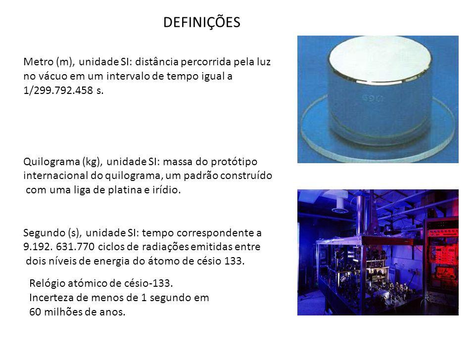 Metro (m), unidade SI: distância percorrida pela luz no vácuo em um intervalo de tempo igual a 1/299.792.458 s. Quilograma (kg), unidade SI: massa do