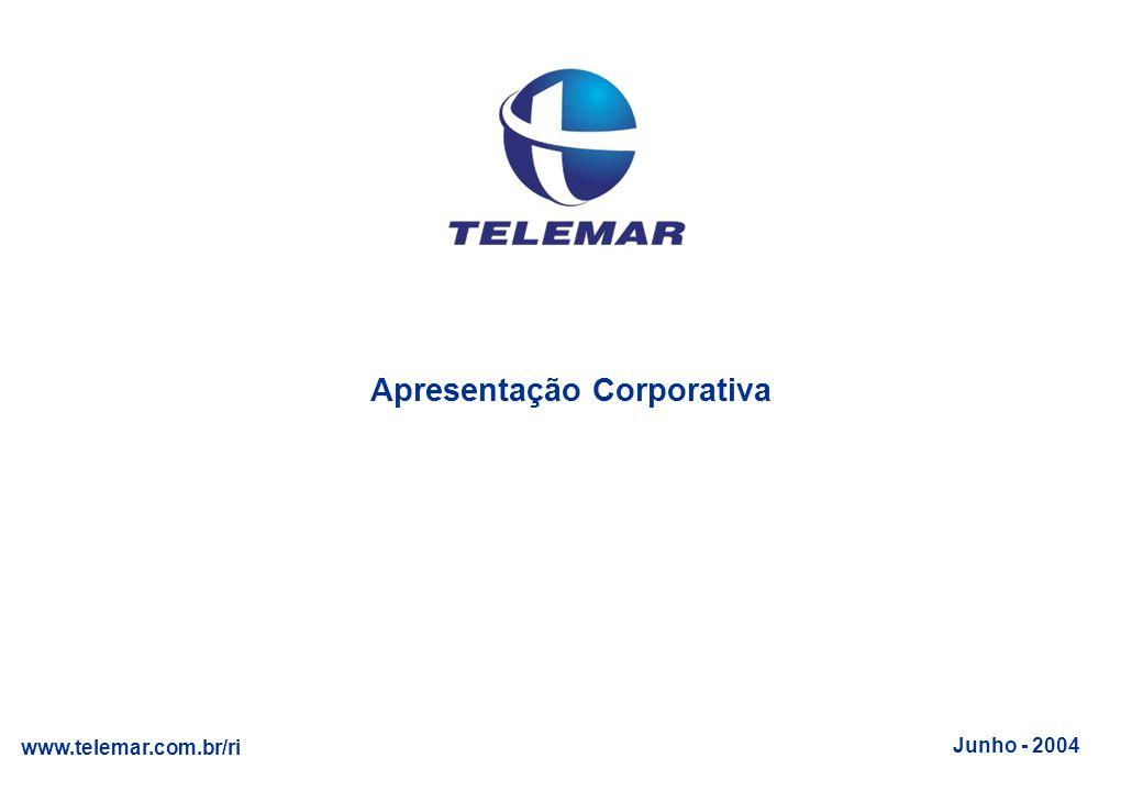 Junho 2004 www.telemar.com.br/ri 11 Foco em lucratividade: EBITDA positivo desde o lançamento Posições de atendimento tiveram crescimento médio anual de 62%, em linha com o aumento da base de clientes e de receitas líquidas (70%) - Contax tem atualmente 27 clientes, incluindo grandes bancos, serviços públicos, seguradoras, tv a cabo, telecom, varejo Meta : Consolidar posição #1 de operador de call center no Brasil Foco em lucratividade: EBITDA positivo desde o lançamento Posições de atendimento tiveram crescimento médio anual de 62%, em linha com o aumento da base de clientes e de receitas líquidas (70%) - Contax tem atualmente 27 clientes, incluindo grandes bancos, serviços públicos, seguradoras, tv a cabo, telecom, varejo Meta : Consolidar posição #1 de operador de call center no Brasil Serviço de Call Center Posições de Atendimento 7.337 4.947 12.907 Receita Líquida (R$ milhões) 223 421 146 >15.000 12.543 125