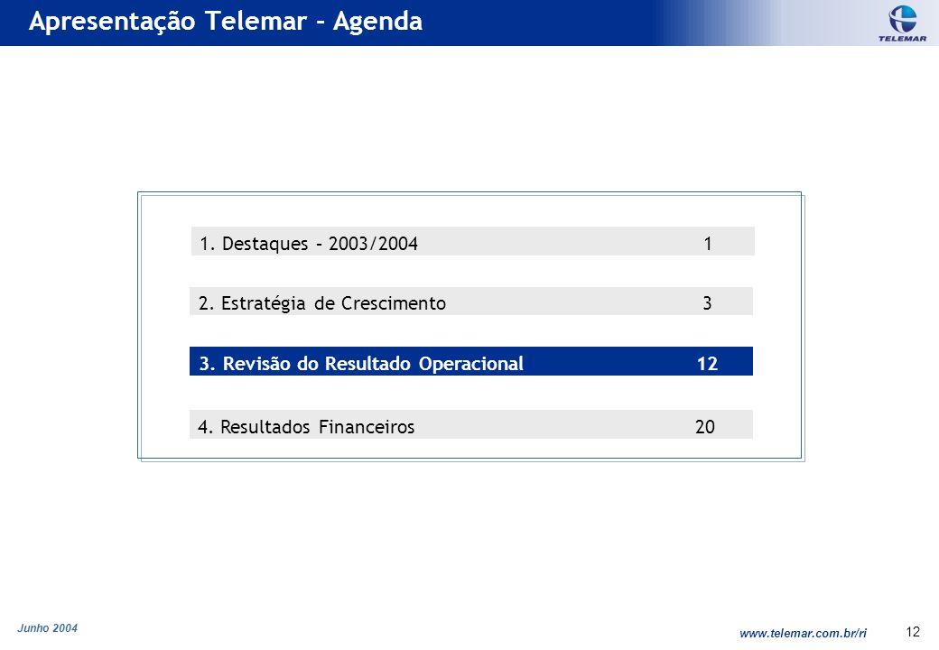 Junho 2004 www.telemar.com.br/ri 12 Apresentação Telemar - Agenda 3. Revisão do Resultado Operacional 12 2. Estratégia de Crescimento 3 1. Destaques –