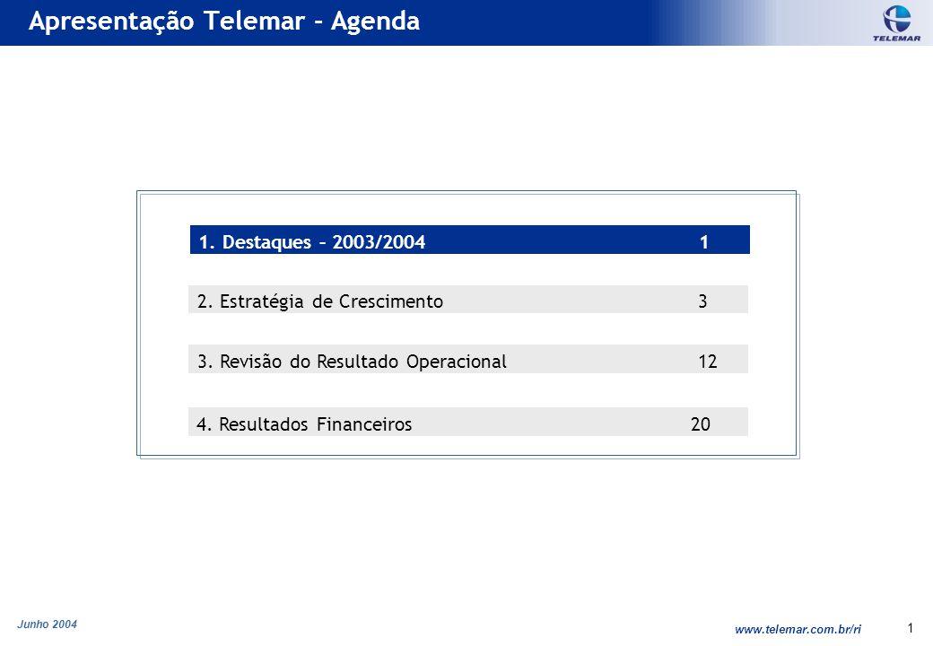 Junho 2004 www.telemar.com.br/ri 1 Apresentação Telemar - Agenda 3. Revisão do Resultado Operacional 12 2. Estratégia de Crescimento 3 1. Destaques –
