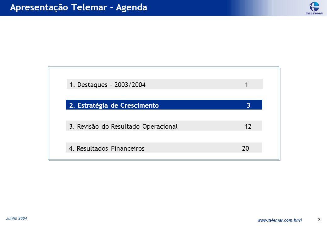 Junho 2004 www.telemar.com.br/ri 14 Telemar mantém a liderança regional em serviços de LD apesar de ter iniciado os serviços de ligação inter-regional & internacional apenas em Julho/2002 Crescimento em Serviços de Longa Distância 1.568 2.066 2.963 Receita Bruta LD - R$ milhões Tráfego LD (milhões de minutos) LD como % do Total de Receitas (inclui F2M) 6.873 8.183 9.510 CAGR (01-03) 17,6% CAGR (01-03) 37,5% 885