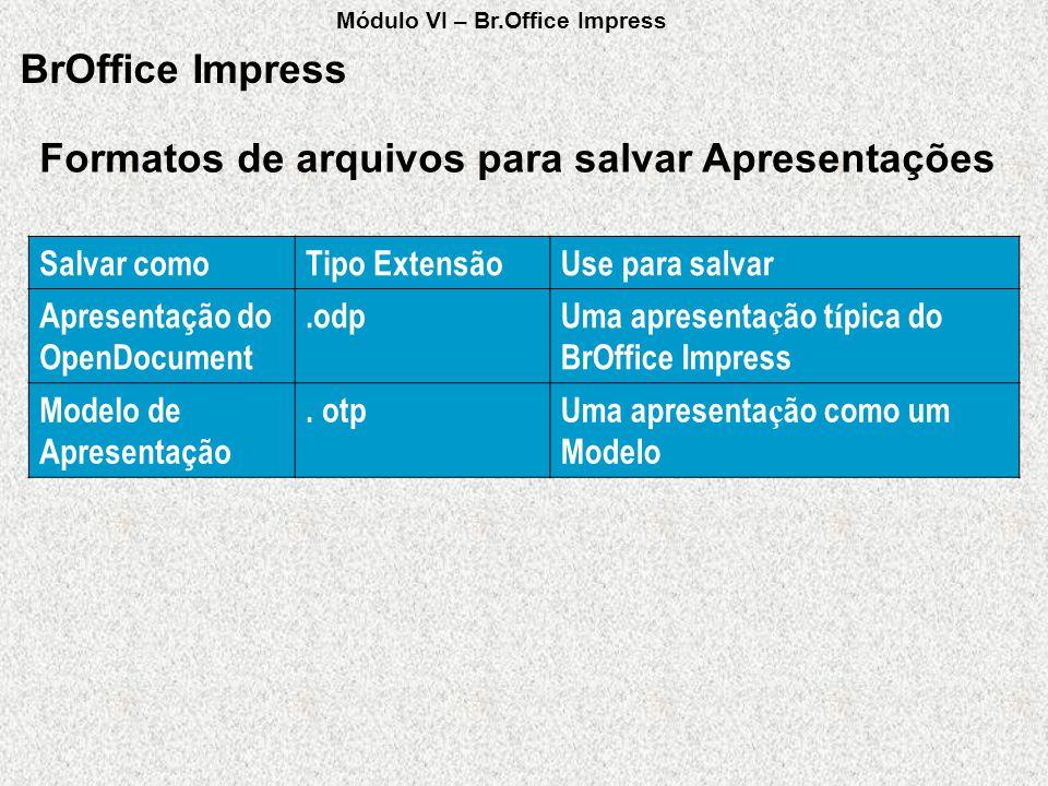 Formatos de arquivos para salvar Apresentações BrOffice Impress Salvar comoTipo ExtensãoUse para salvar Apresentação do OpenDocument.odpUma apresenta
