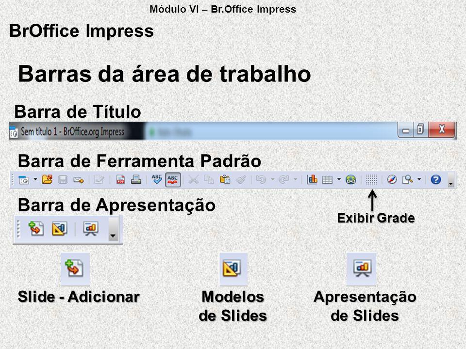 Barras da área de trabalho BrOffice Impress Barra de Título Barra de Ferramenta Padrão Exibir Grade Barra de Apresentação Slide - Adicionar Modelos de