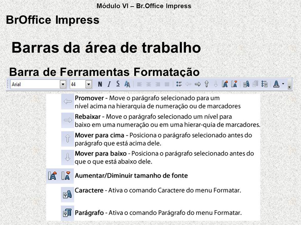 Barras da área de trabalho BrOffice Impress Barra de Ferramentas Formatação Módulo VI – Br.Office Impress