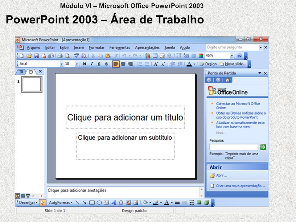 PowerPoint 2003 – Área de Trabalho Módulo VI – Microsoft Office PowerPoint 2003