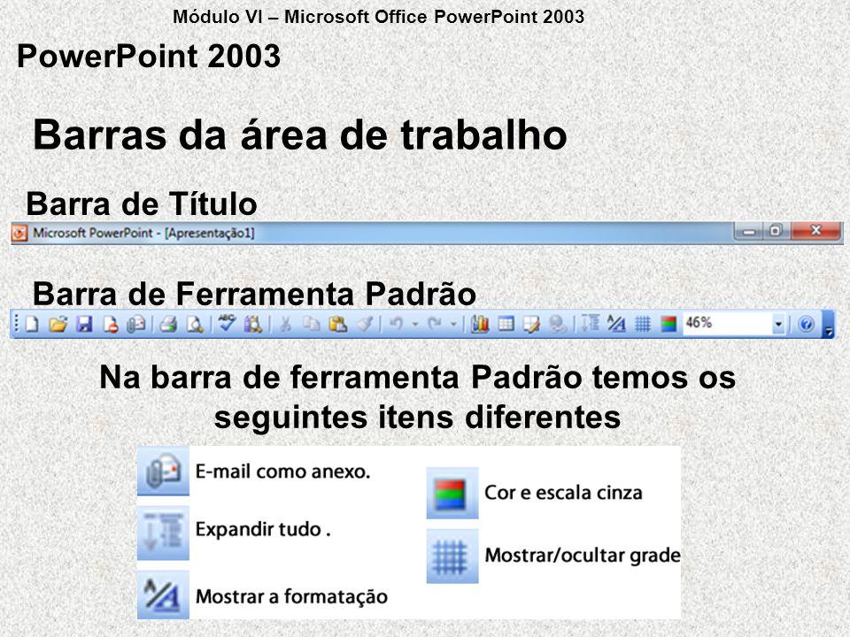 Barras da área de trabalho PowerPoint 2003 Barra de Título Barra de Ferramenta Padrão Na barra de ferramenta Padrão temos os seguintes itens diferente