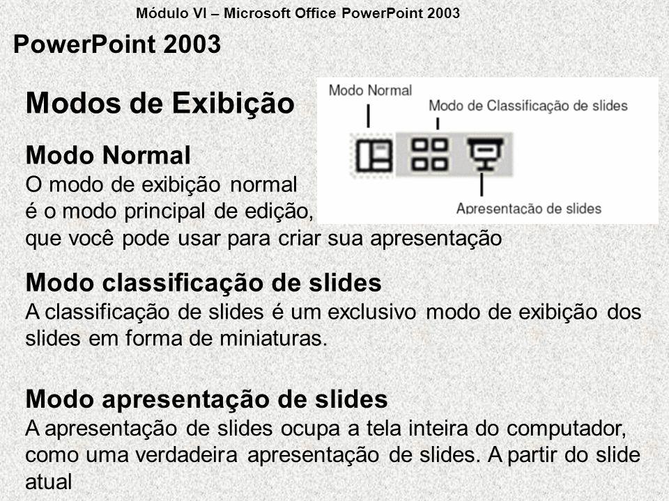 Modos de Exibição PowerPoint 2003 Modo Normal O modo de exibição normal é o modo principal de edição, que você pode usar para criar sua apresentação M