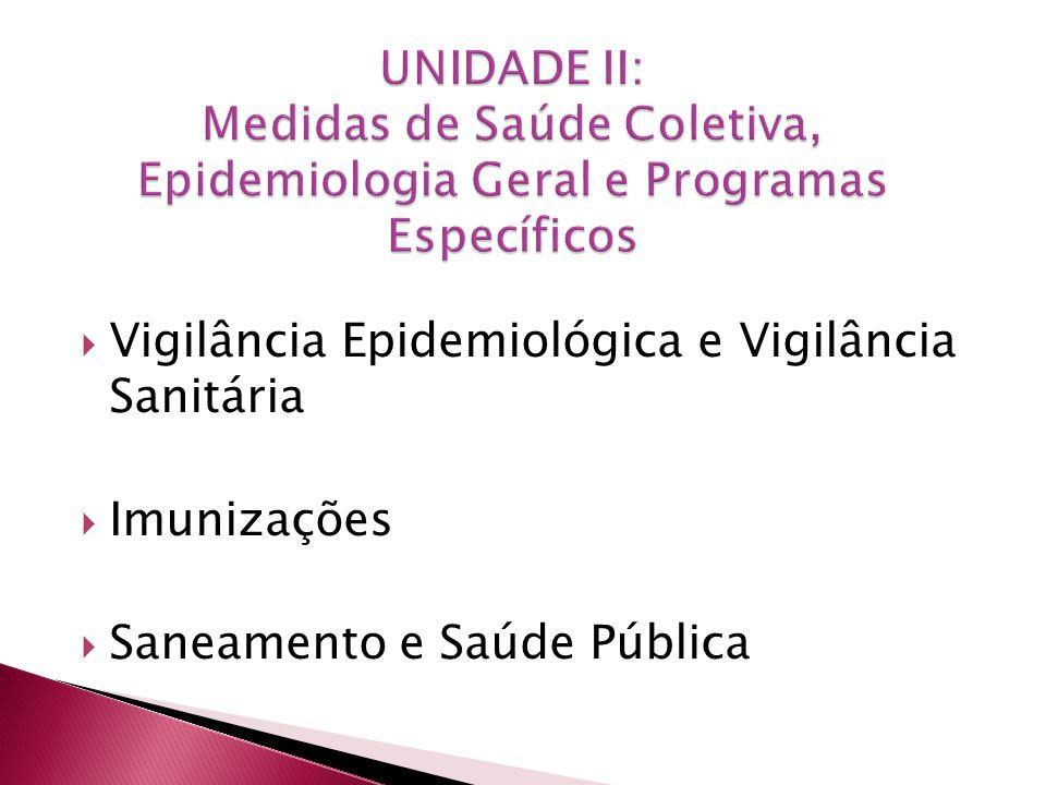 Vigilância Epidemiológica e Vigilância Sanitária Imunizações Saneamento e Saúde Pública