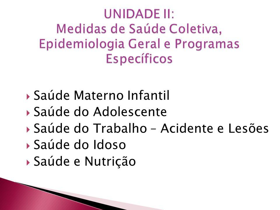 Saúde Materno Infantil Saúde do Adolescente Saúde do Trabalho – Acidente e Lesões Saúde do Idoso Saúde e Nutrição