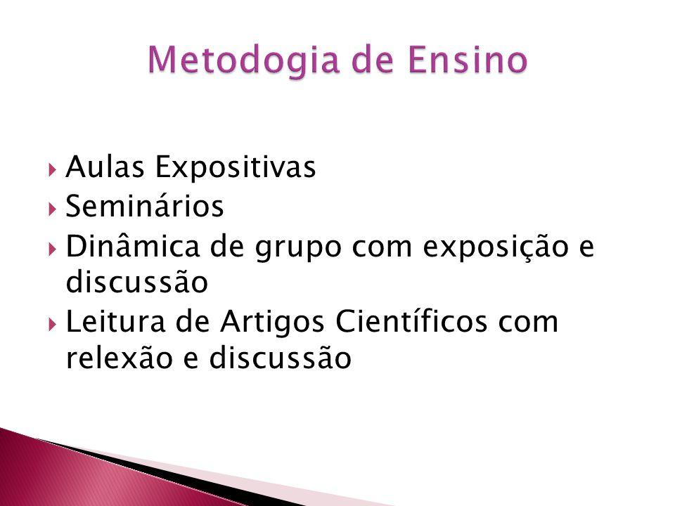 Aulas Expositivas Seminários Dinâmica de grupo com exposição e discussão Leitura de Artigos Científicos com relexão e discussão