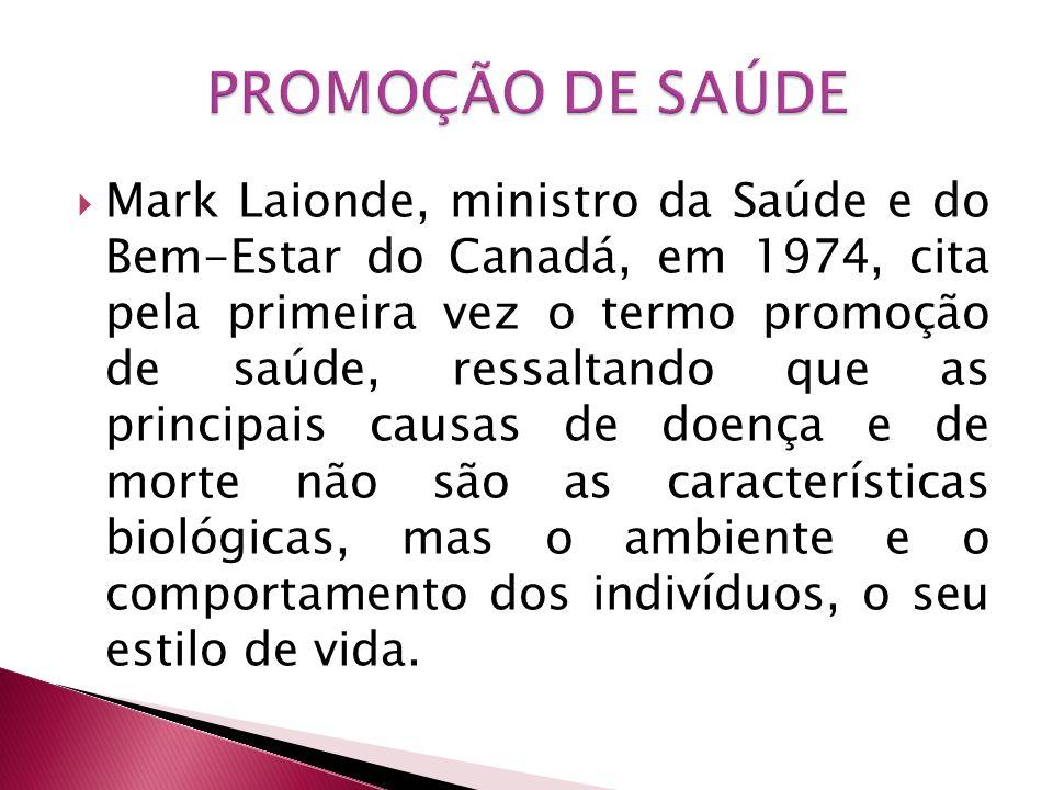 Mark Laionde, ministro da Saúde e do Bem-Estar do Canadá, em 1974, cita pela primeira vez o termo promoção de saúde, ressaltando que as principais cau