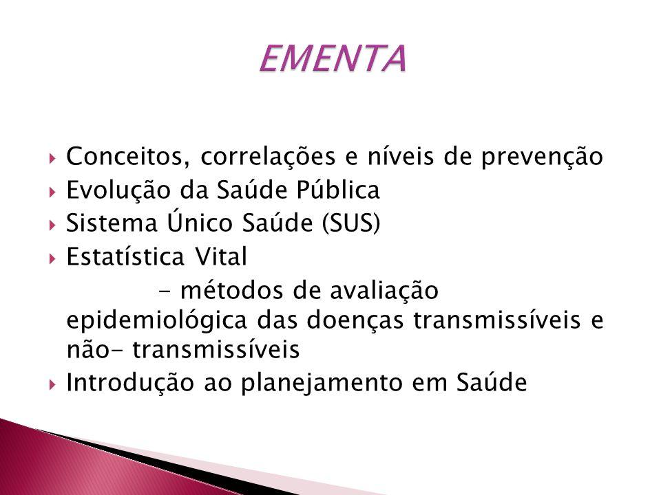 Conceitos, correlações e níveis de prevenção Evolução da Saúde Pública Sistema Único Saúde (SUS) Estatística Vital - métodos de avaliação epidemiológi