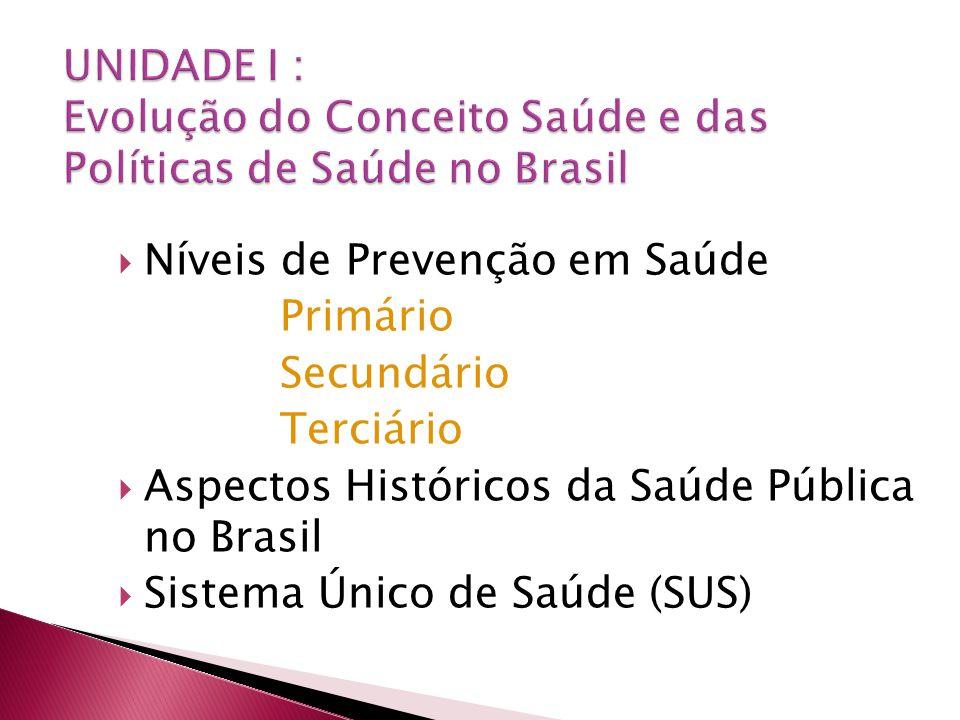 Níveis de Prevenção em Saúde Primário Secundário Terciário Aspectos Históricos da Saúde Pública no Brasil Sistema Único de Saúde (SUS)