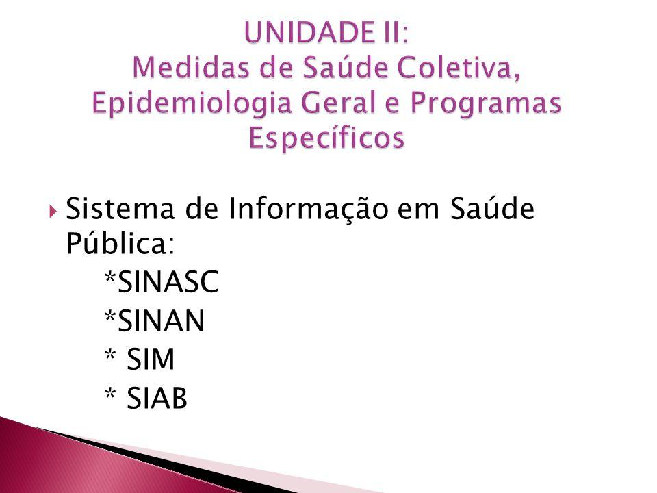Sistema de Informação em Saúde Pública: *SINASC *SINAN * SIM * SIAB