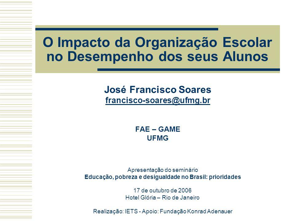 O Impacto da Organização Escolar no Desempenho dos seus Alunos José Francisco Soares francisco-soares@ufmg.br FAE – GAME UFMG Apresentação do seminári