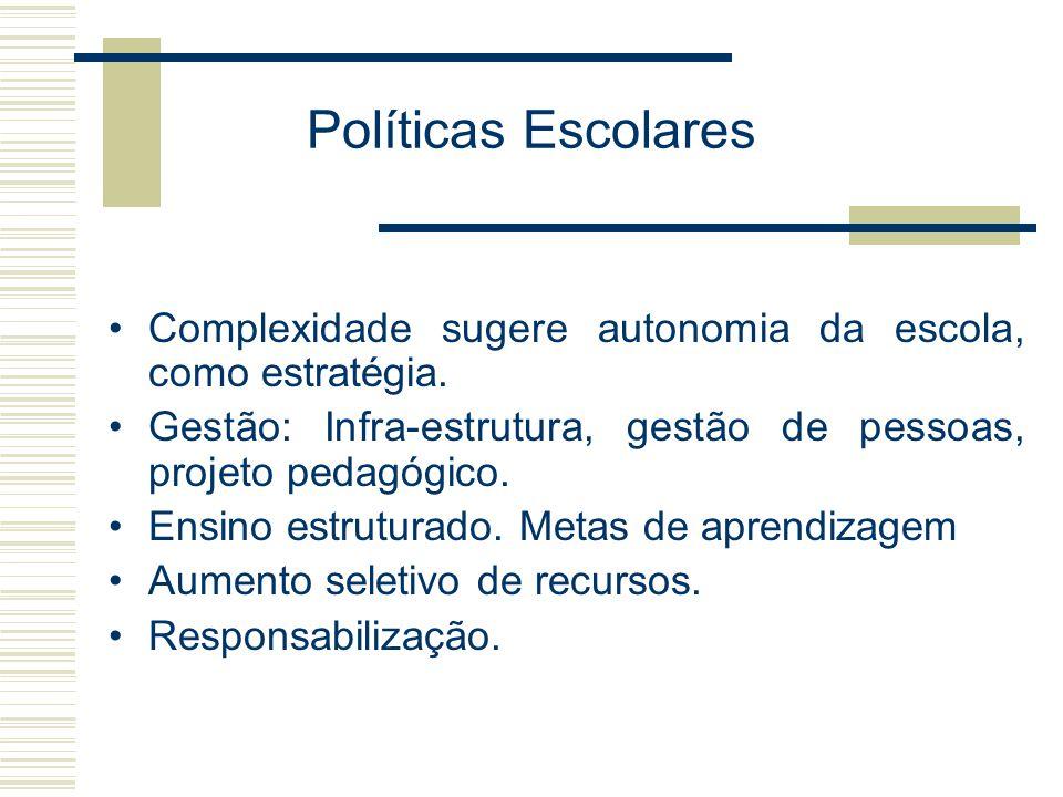 Políticas Escolares Complexidade sugere autonomia da escola, como estratégia. Gestão: Infra-estrutura, gestão de pessoas, projeto pedagógico. Ensino e
