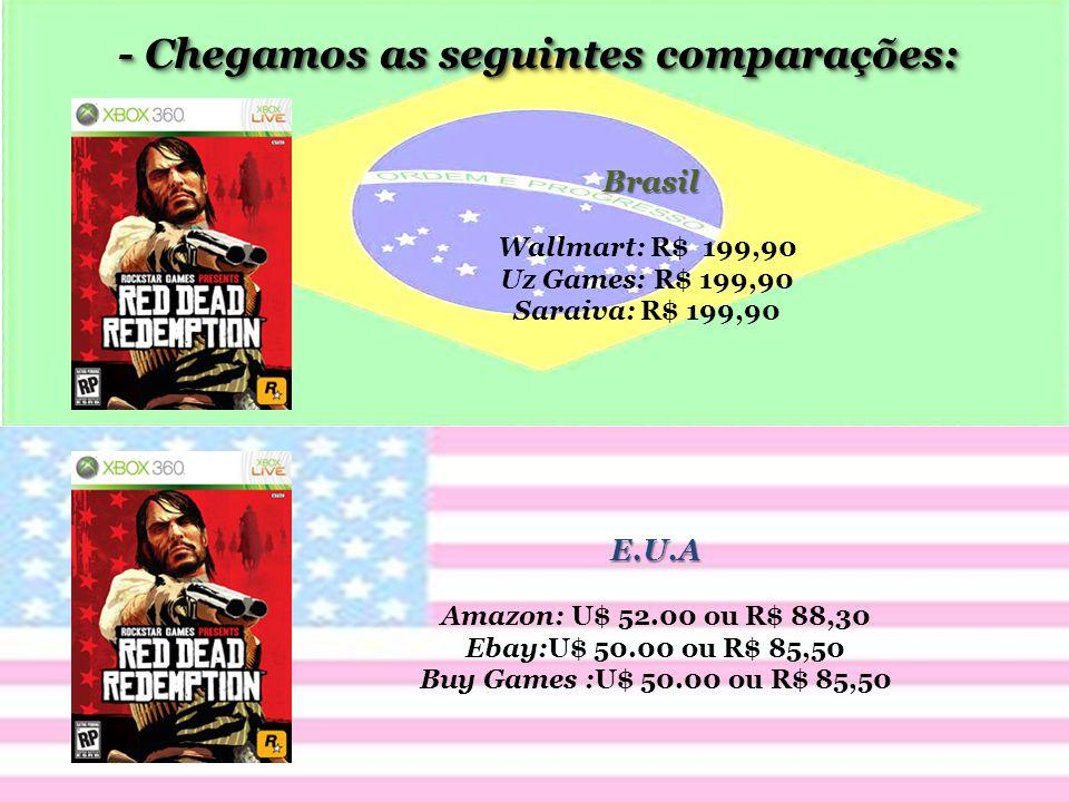 - Chegamos as seguintes comparações: Brasil Wallmart: R$ 199,90 Uz Games: R$ 199,90 Saraiva: R$ 199,90 E.U.A Amazon: U$ 52.00 ou R$ 88,30 Ebay:U$ 50.00 ou R$ 85,50 Buy Games :U$ 50.00 ou R$ 85,50