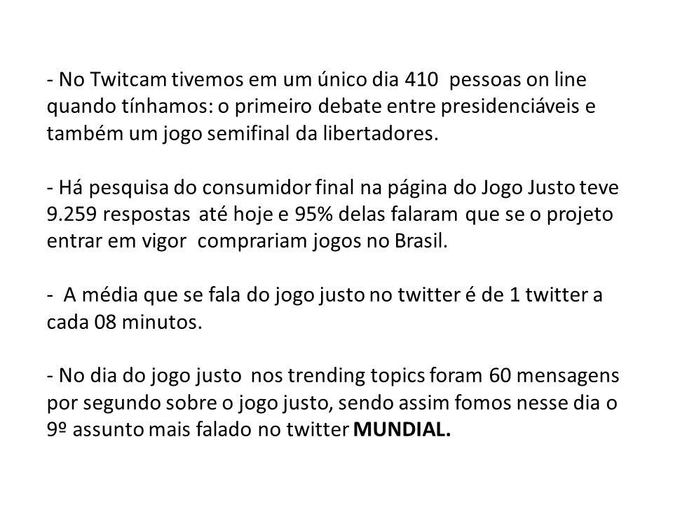 - No Twitcam tivemos em um único dia 410 pessoas on line quando tínhamos: o primeiro debate entre presidenciáveis e também um jogo semifinal da libertadores.