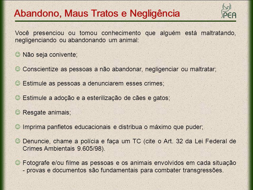 Links Importantes Esterilização: www.pea.org.br/cuidados/esterilizacao.htmwww.pea.org.br/cuidados/esterilizacao.htm Posse Responsável: www.pea.org.br/crueldade/carrocinhaswww.pea.org.br/crueldade/carrocinhas Panfletos Educacionais: Conscientização: www.pea.org.br/educativo/pdf/panfleto_conscientizacao.pdfwww.pea.org.br/educativo/pdf/panfleto_conscientizacao.pdf Crueldade Gatos: www.pea.org.br/educativo/pdf/protesto_gatos.pdfwww.pea.org.br/educativo/pdf/protesto_gatos.pdf Crueldade Cães: www.pea.org.br/educativo/pdf/cartaz_justica.pdfwww.pea.org.br/educativo/pdf/cartaz_justica.pdf Crueldade Cães e Gatos: www.pea.org.br/educativo/pdf/panfleto_cao_gato.pdfwww.pea.org.br/educativo/pdf/panfleto_cao_gato.pdf Resgate e Doação: www.pea.org.br/cuidados/resgate.htmwww.pea.org.br/cuidados/resgate.htm Abandono, Maus Tratos e Negligência