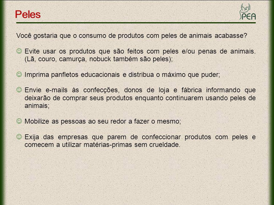 Você gostaria que o consumo de produtos com peles de animais acabasse? Evite usar os produtos que são feitos com peles e/ou penas de animais. (Lã, cou