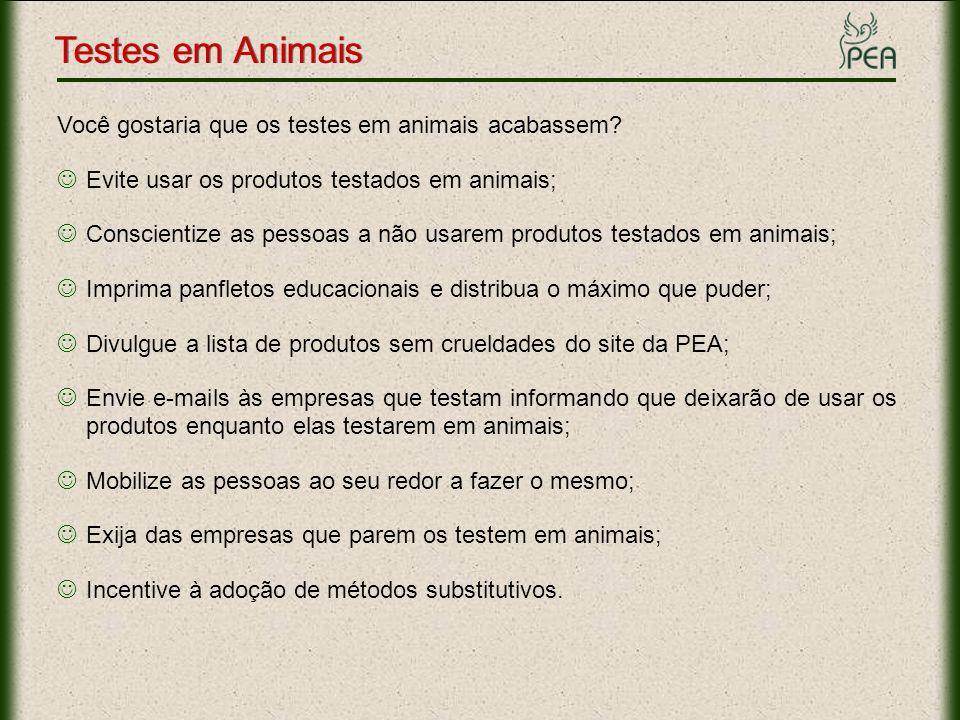 Testes em Animais Links importantes Empresas que TESTAM: www.pea.org.br/crueldade/testes/testam.htmwww.pea.org.br/crueldade/testes/testam.htm Empresas que NÃO Testam: www.pea.org.br/crueldade/testes/naotestam.htmwww.pea.org.br/crueldade/testes/naotestam.htm Lista de Compra SEM CRUELDADE: www.pea.org.br/crueldade/testes/lista.htmwww.pea.org.br/crueldade/testes/lista.htm Fotos e Vídeos: www.pea.org.br/crueldade/testes/tfotos.htmwww.pea.org.br/crueldade/testes/tfotos.htm Informações: www.pea.org.br/crueldade/testes/index.htmwww.pea.org.br/crueldade/testes/index.htm Panfleto Educativo: www.pea.org.br/educativo/pdf/panfleto_teste.pdfwww.pea.org.br/educativo/pdf/panfleto_teste.pdf Slide: www.pea.org.br/educativo/slides/testes.ppswww.pea.org.br/educativo/slides/testes.pps