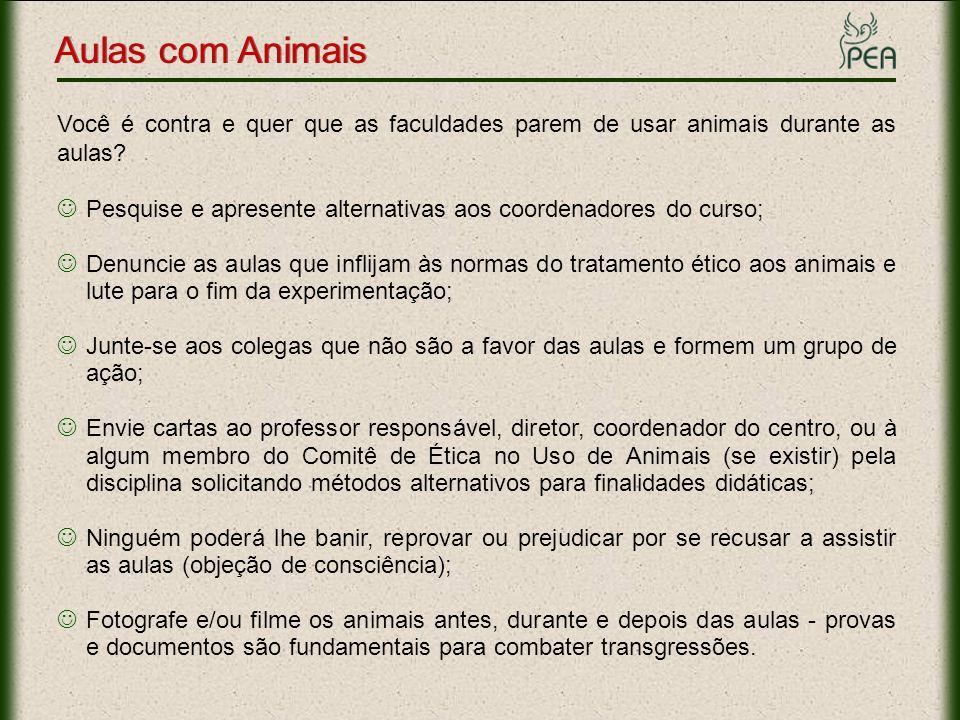 Aulas com Animais Informações Importantes Normas para a prática didático - científica da vivissecção A lei 6.638, de 8 de maio de 1979 estabelece normas para a prática didático - científica da vivissecção de animais e determina outras providências.lei 6.638, de 8 de maio de 1979 Complementada pela lei 9.605, de 12 de fevereiro de 1998 - Dos crimes contra o meio ambiente - cujo parágrafo 1º do artigo 32 diz:pela lei 9.605 Incorre nas mesmas penas (detenção de 3 meses a um ano, e multa) quem realiza experiências dolorosas ou cruéis em animais vivos, ainda que para fins didáticos ou científicos, quando existirem recursos alternativos.