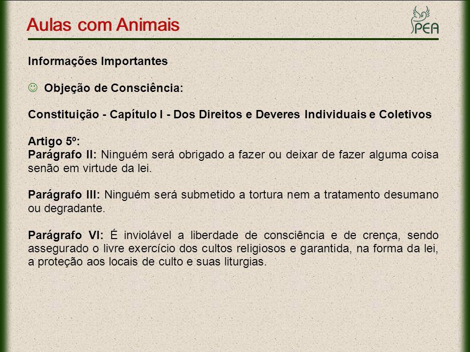 Aulas com Animais Informações Importantes Objeção de Consciência: Constituição - Capítulo I - Dos Direitos e Deveres Individuais e Coletivos Artigo 5º