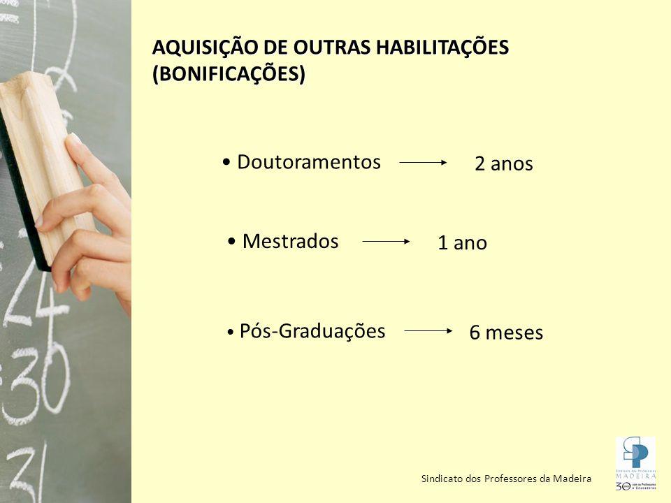 Sindicato dos Professores da Madeira AQUISIÇÃO DE OUTRAS HABILITAÇÕES (BONIFICAÇÕES) Doutoramentos Mestrados Pós-Graduações 2 anos 1 ano 6 meses