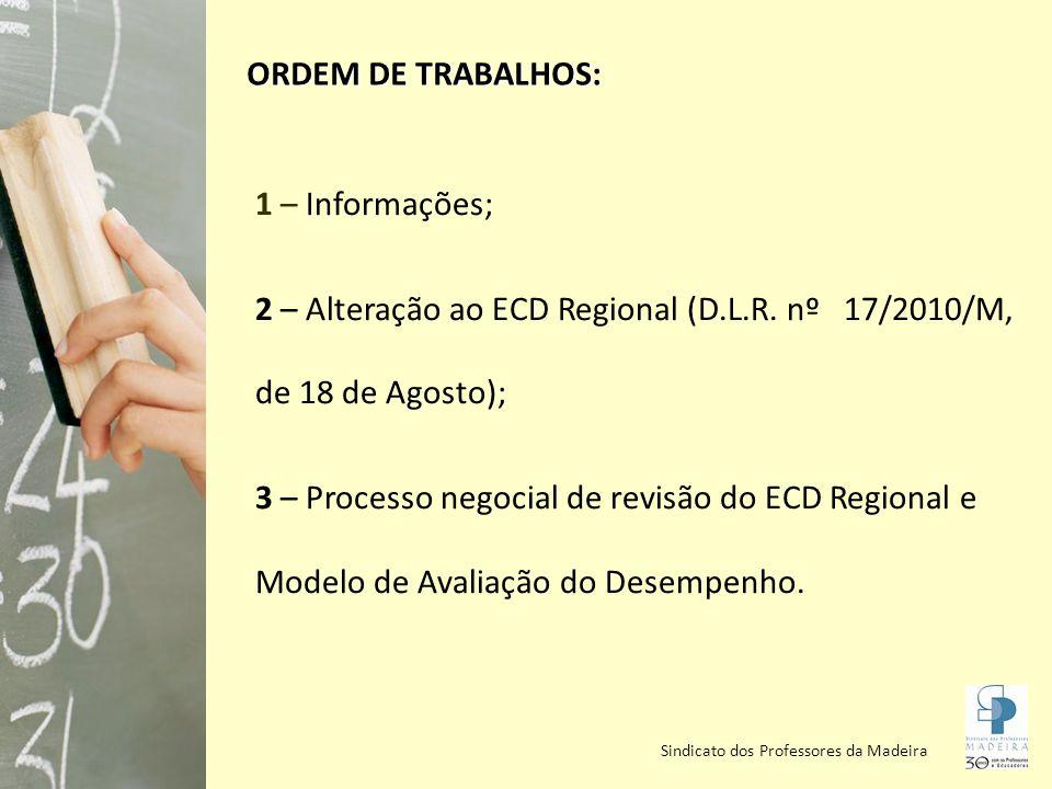 Sindicato dos Professores da Madeira ECD REGIONAL Alterações Carreira única com 9 escalões com a seguinte duração: - 1º, 2º, 3º e 4º escalões: 4 anos - 5º escalão: 2 anos - 6º, 7º e 8º escalões: 6 anos