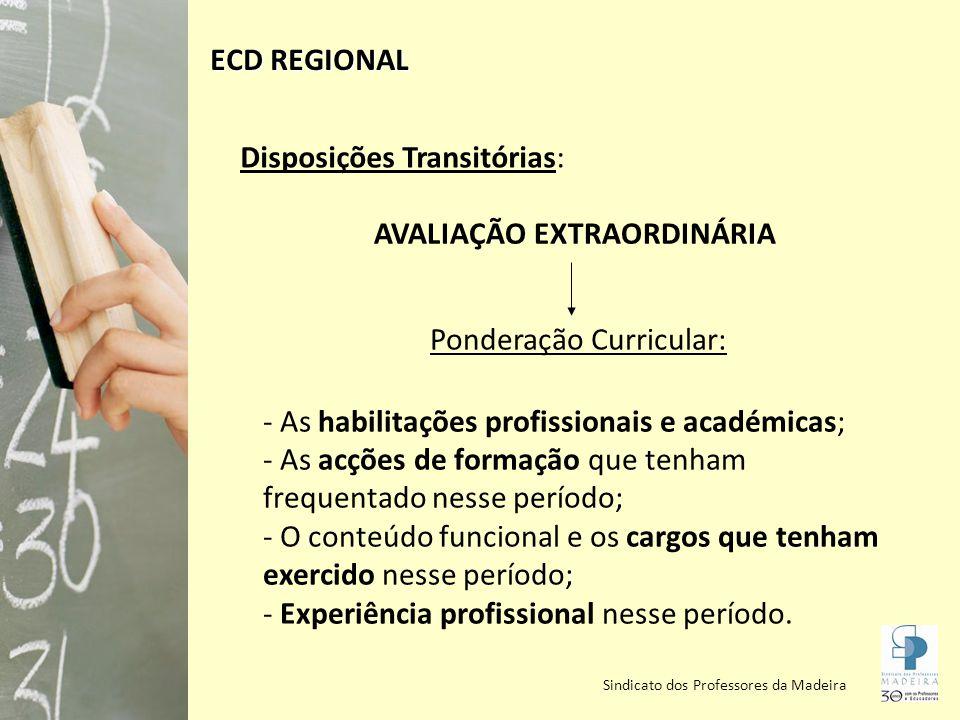 Sindicato dos Professores da Madeira Regras para progressão para os escalões seguintes: Ano do Preenchimento dos Requisitos Condições para a progressão 2008 e 2009 (anos civis) Tempo de serviço no escalão Avaliação de BOM (de 2007-2009) Última avaliação de SATISFAZ (efectuada nos temos do Decreto Regulamentar n.º 11/98, de 15/05) ECD REGIONAL
