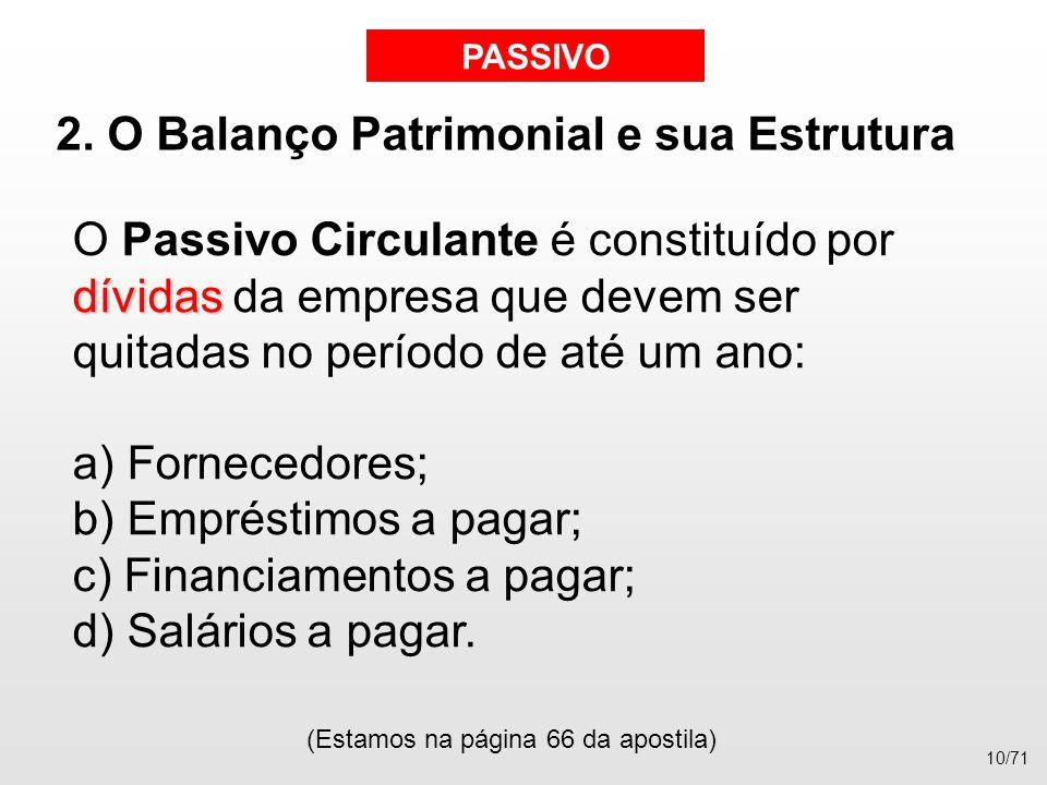 2. O Balanço Patrimonial e sua Estrutura dívidas O Passivo Circulante é constituído por dívidas da empresa que devem ser quitadas no período de até um