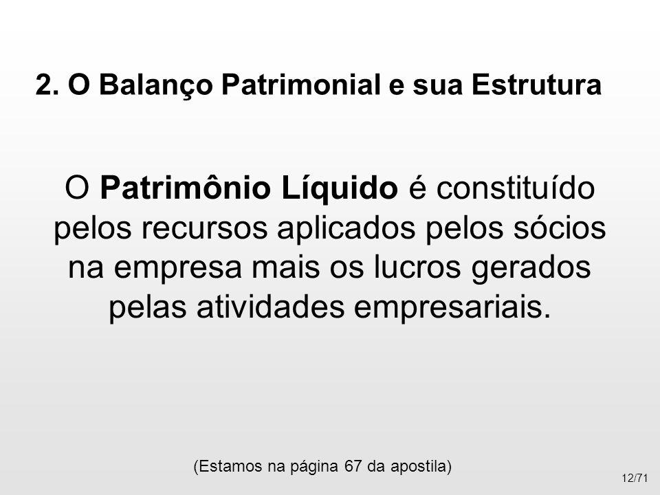 2. O Balanço Patrimonial e sua Estrutura O Patrimônio Líquido é constituído pelos recursos aplicados pelos sócios na empresa mais os lucros gerados pe