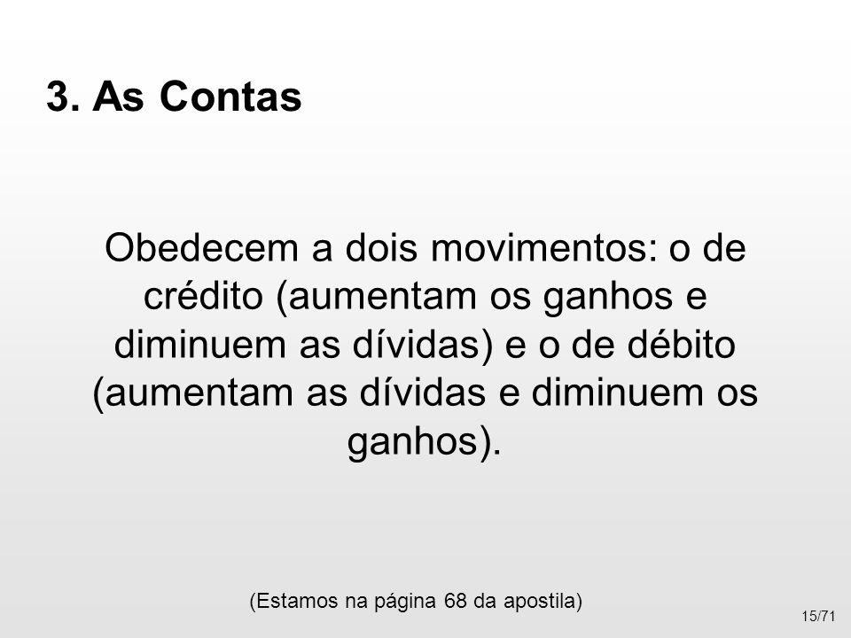 3. As Contas Obedecem a dois movimentos: o de crédito (aumentam os ganhos e diminuem as dívidas) e o de débito (aumentam as dívidas e diminuem os ganh