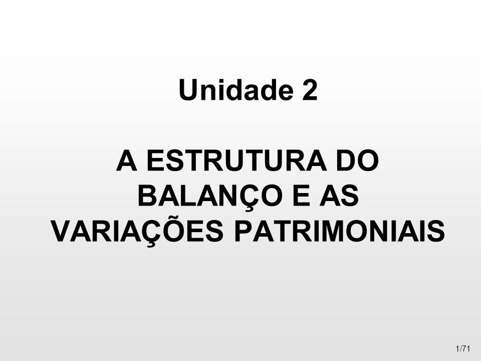 Unidade 2 A ESTRUTURA DO BALANÇO E AS VARIAÇÕES PATRIMONIAIS 1/71