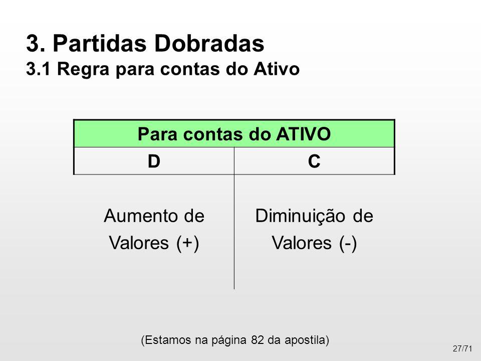 3. Partidas Dobradas 3.1 Regra para contas do Ativo (Estamos na página 82 da apostila) 27/71 Para contas do ATIVO DC Aumento de Valores (+) Diminuição