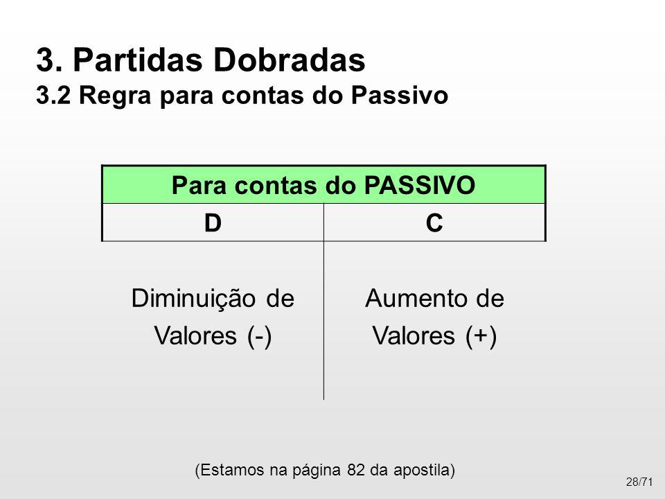 3. Partidas Dobradas 3.2 Regra para contas do Passivo (Estamos na página 82 da apostila) 28/71 Para contas do PASSIVO DC Diminuição de Valores (-) Aum