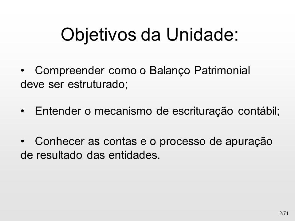 Objetivos da Unidade: Compreender como o Balanço Patrimonial deve ser estruturado; Entender o mecanismo de escrituração contábil; 2/71 Conhecer as con