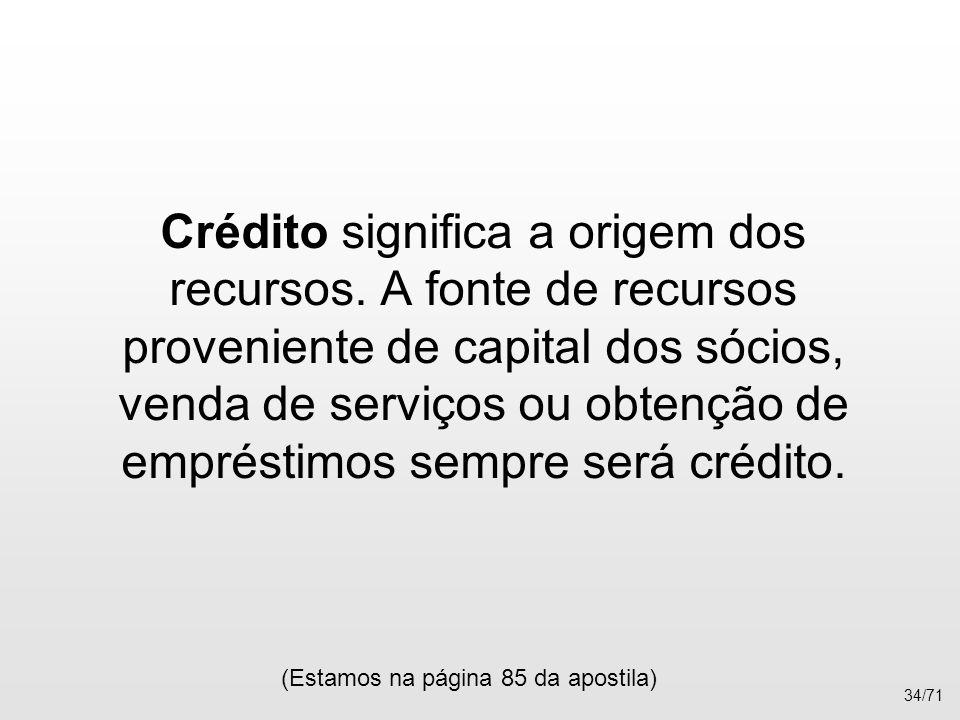 Crédito significa a origem dos recursos. A fonte de recursos proveniente de capital dos sócios, venda de serviços ou obtenção de empréstimos sempre se