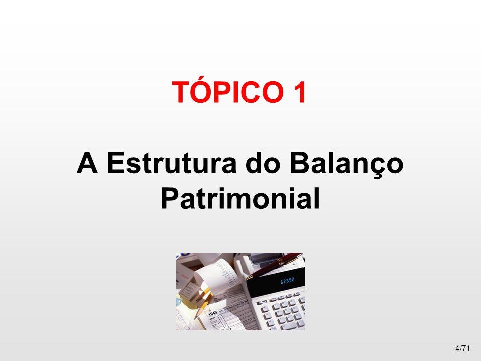 TÓPICO 1 A Estrutura do Balanço Patrimonial 4/71