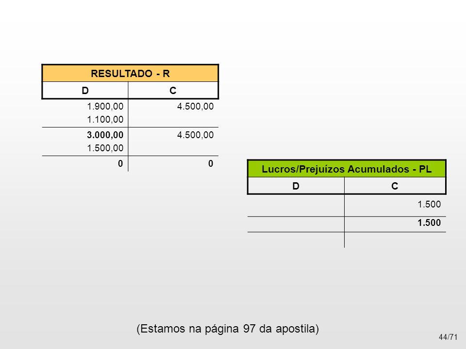 RESULTADO - R DC 1.900,00 1.100,00 4.500,00 3.000,00 1.500,00 4.500,00 00 Lucros/Prejuízos Acumulados - PL DC 1.500 (Estamos na página 97 da apostila)