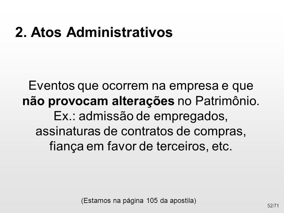 2. Atos Administrativos Eventos que ocorrem na empresa e que não provocam alterações no Patrimônio. Ex.: admissão de empregados, assinaturas de contra
