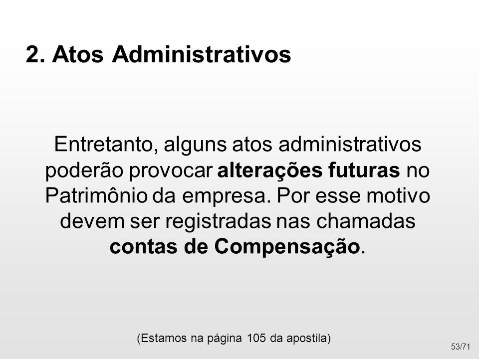 2. Atos Administrativos Entretanto, alguns atos administrativos poderão provocar alterações futuras no Patrimônio da empresa. Por esse motivo devem se