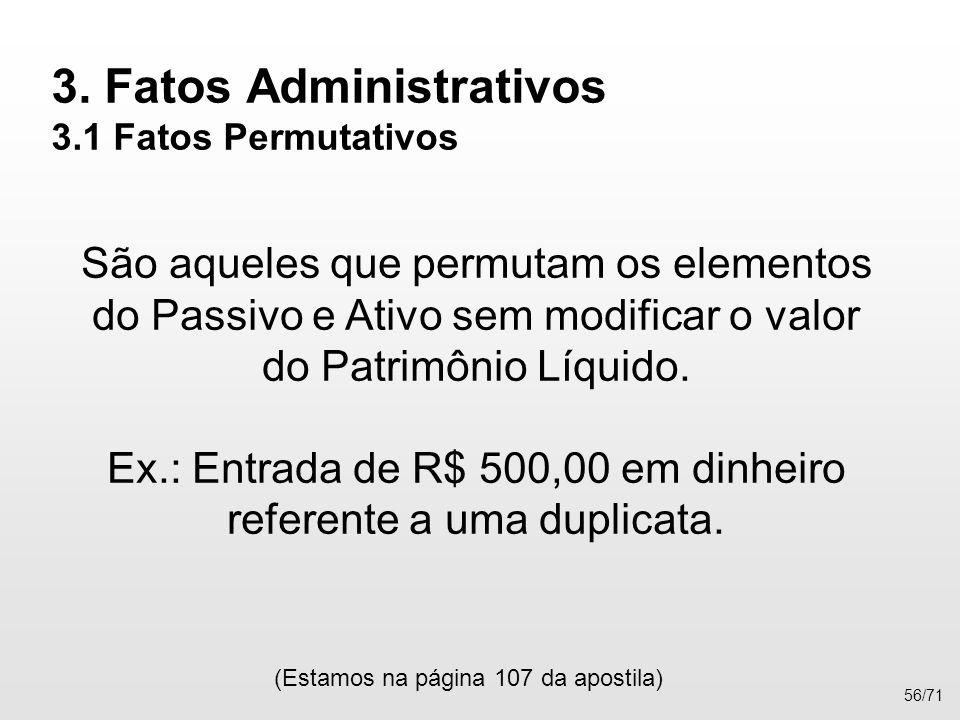 3. Fatos Administrativos 3.1 Fatos Permutativos São aqueles que permutam os elementos do Passivo e Ativo sem modificar o valor do Patrimônio Líquido.